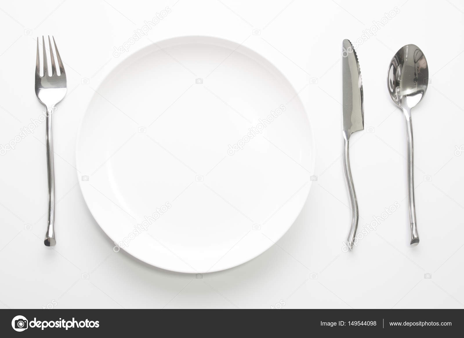 Place setting with plate knife fork and spoon on white u2014 Stock Photo & place setting with plate knife fork and spoon on white u2014 Stock Photo ...