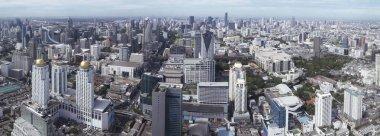 Aerial panorama cityscape view, Bangkok Thailand.