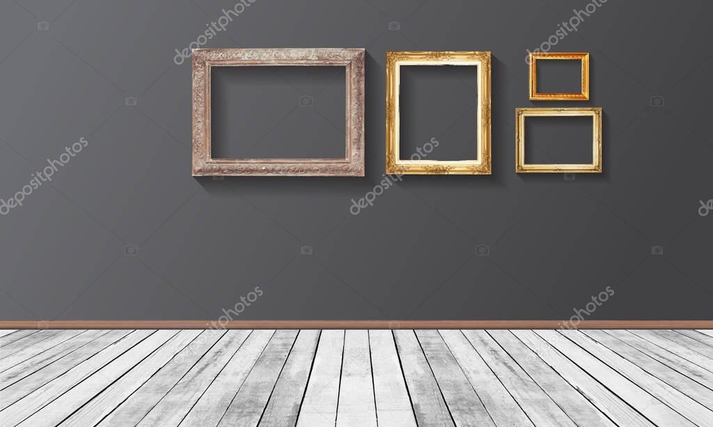 Parete Doro : Insieme del telaio di legno dell annata d oro sulla parete