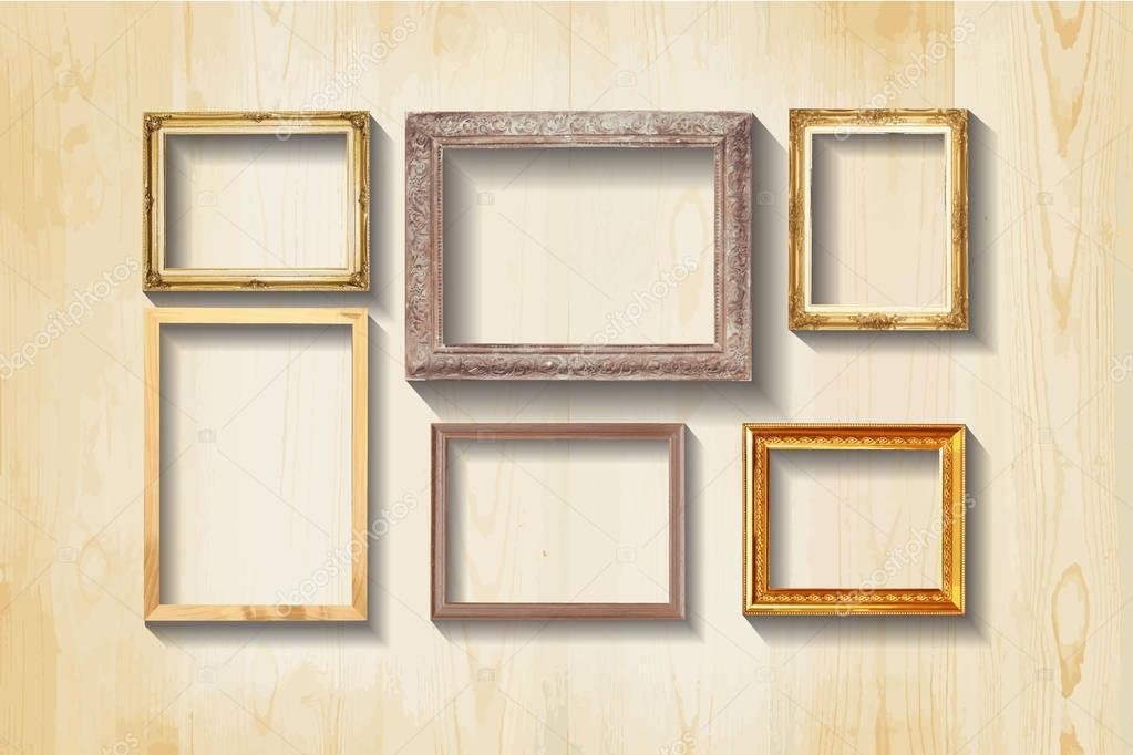 Conjunto de marco de madera de cuadro clásico vintage — Foto de ...
