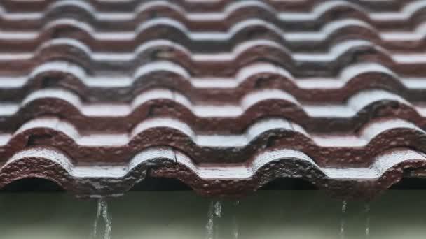 Padající deště kapka na hnědé cihlová střecha