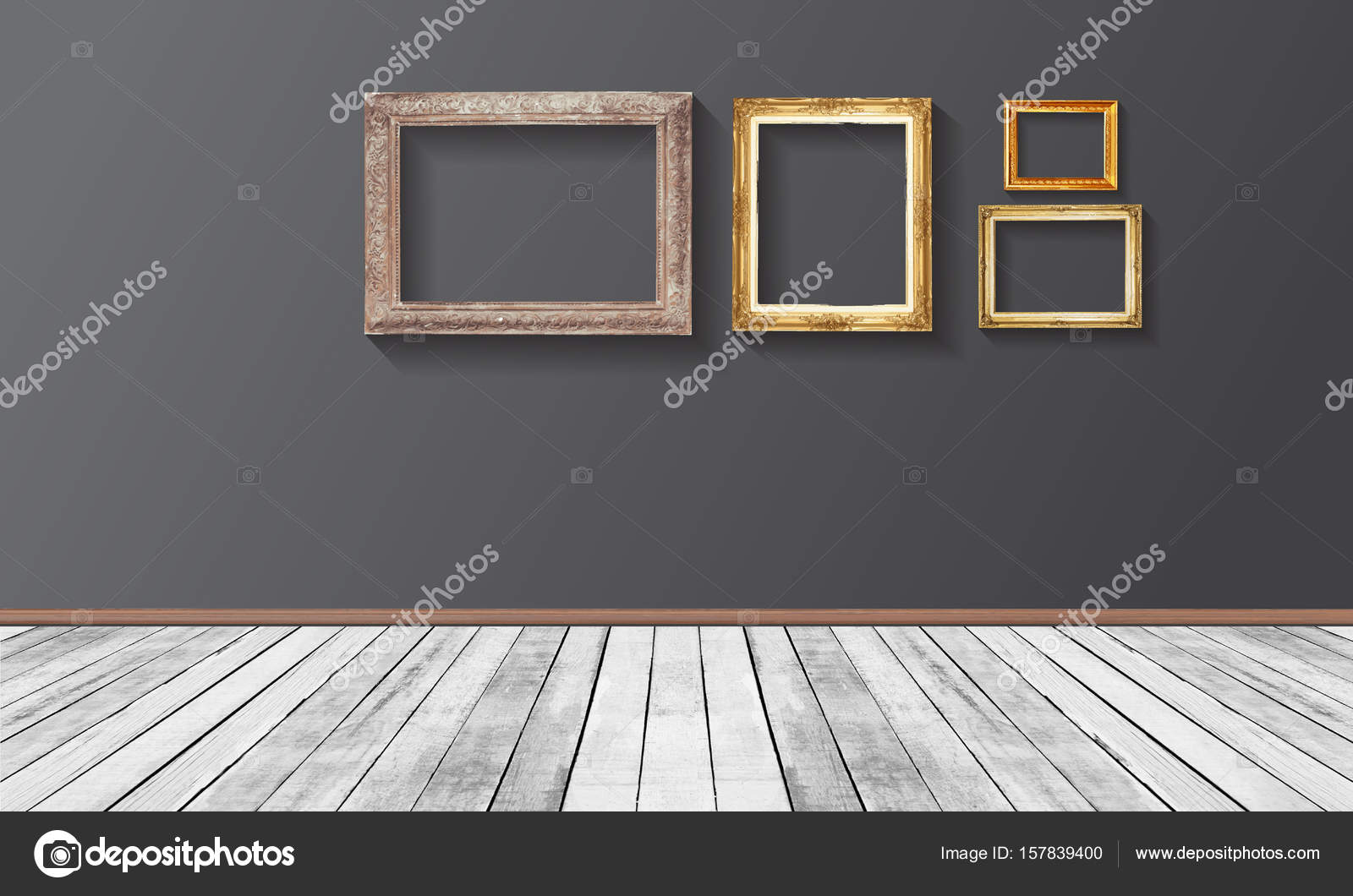 Conjunto de oro vintage marco de madera en la pared, piso de duela ...