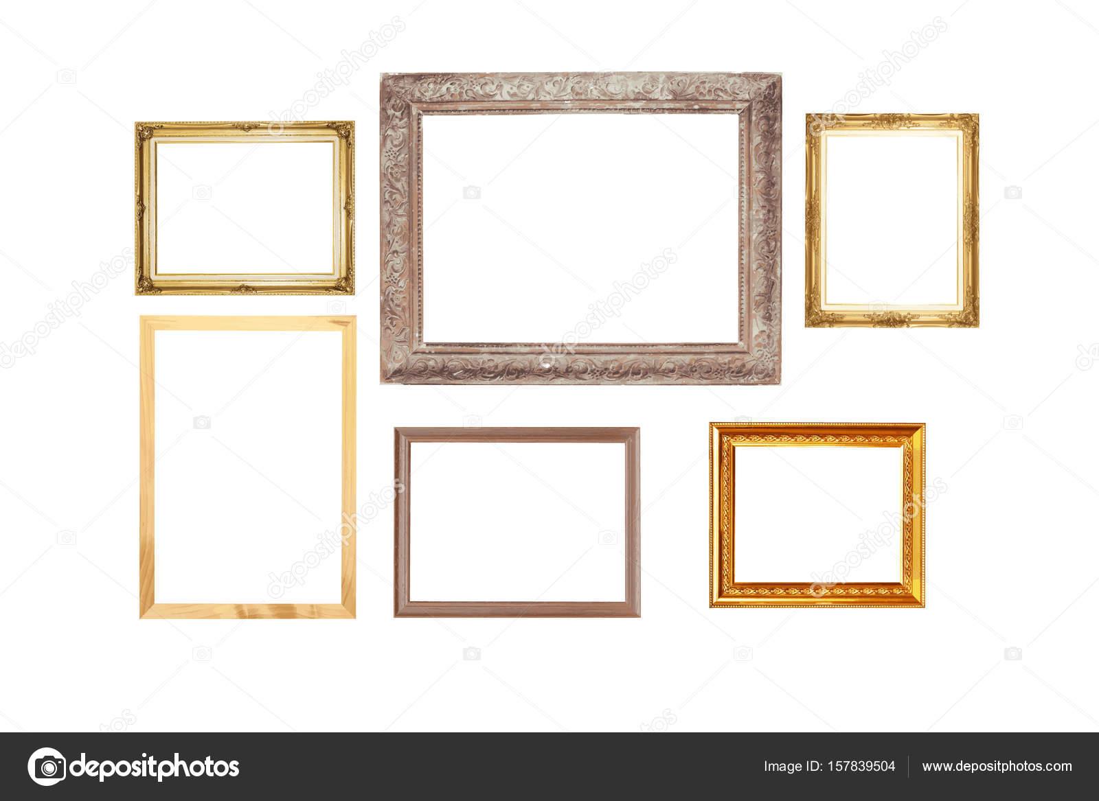Conjunto de oro vintage marco de madera, aislado en fondo blanco ...