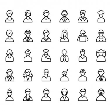 Set vector icons related to people. Contains icons such as nurses, workers, chefs and others.