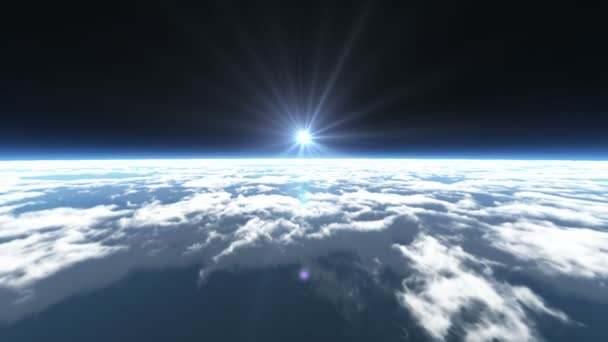 fly over clouds above space