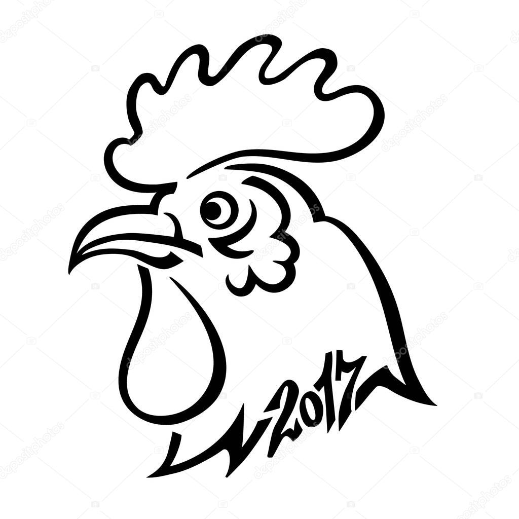 Year 2017 Symbol Chinese Rooster Head Hand Drawing Black Lines On