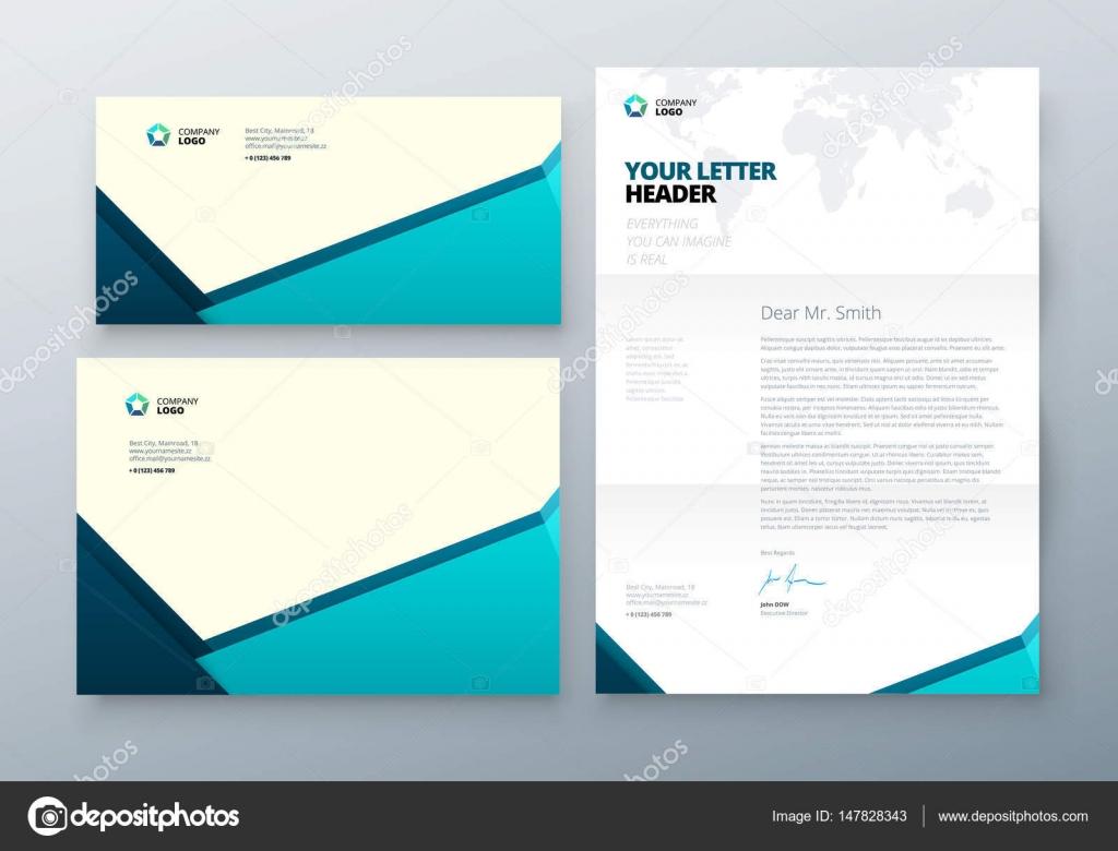 Umschlag Dl, C5, Briefkopf. Petrol / Corporate Business Template für ...