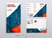 Tri fold brožura designu. Modrá oranžová Dl firemní obchodní šablony pro akci, přeložte brožuru nebo leták. Rozložení s moderními prvky a abstraktní pozadí. Kreativní koncept složený leták nebo brožura.