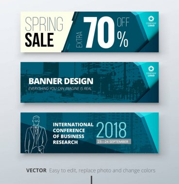 Banner template design. Presentation concept. Teal Corporate business banner template background. Horizontal template banner stand or flag design layout. For conference, forum, shop, web site.