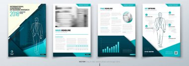 Brochure design. Teal Corporate business template for brochure, report, catalog, magazine, book, booklet. Layout with modern triangle elements and abstract background. Creative vector concept