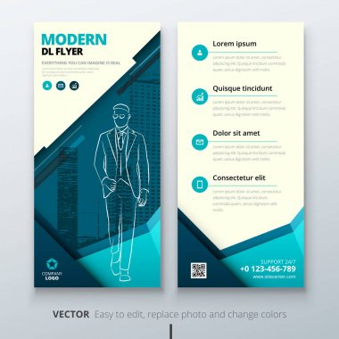 DL flyer design layout. Teal DL Corporate business template for flyer. Layout with modern elements and abstract background. Creative concept vector flyer.
