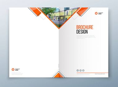 Cover brochure template design. Dark blue. Corporate business annual report, catalog, magazine, flyer mockup. Creative modern concept with squares, rombs and urban styled photo.