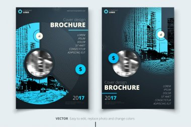 Brochure design. Corporate business report cover, brochure or flyer design. Leaflet presentation. Flyer with abstract circle, round shapes background. Modern poster magazine, layout, template. A4