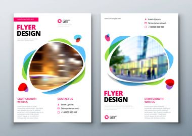 Flyer template layout design. Business flyer, brochure, magazine or flier mockup in bright colors. Vector stock vector