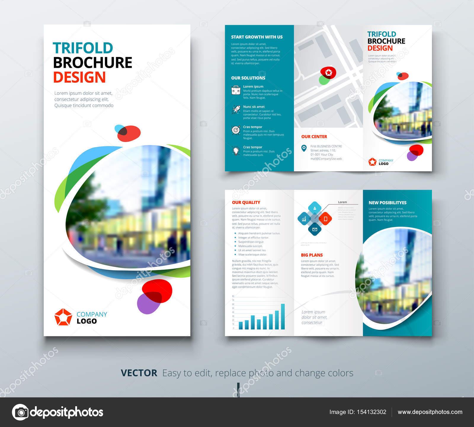Diseño de folleto de triple pliegue de negocio — Vector de stock ...