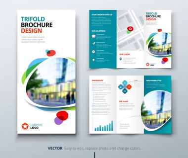 Business tri fold brochure design. Blue orange corporate business template for tri fold flyer. Layout with modern square photo and abstract background. Creative concept folded flyer or brochure. clip art vector