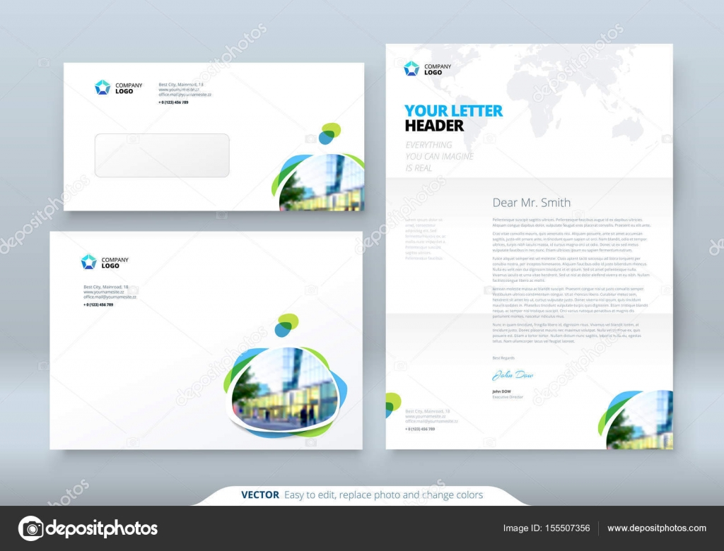 Corporate business template for envelope and letter. — Stock Vector ...
