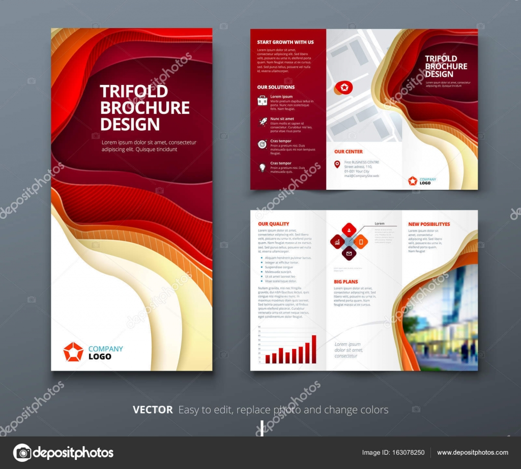 business tri fold brochure design red orange corporate business