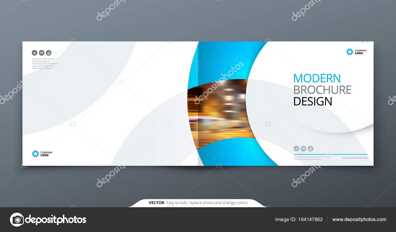 landscape brochure design blue corporate business rectangle