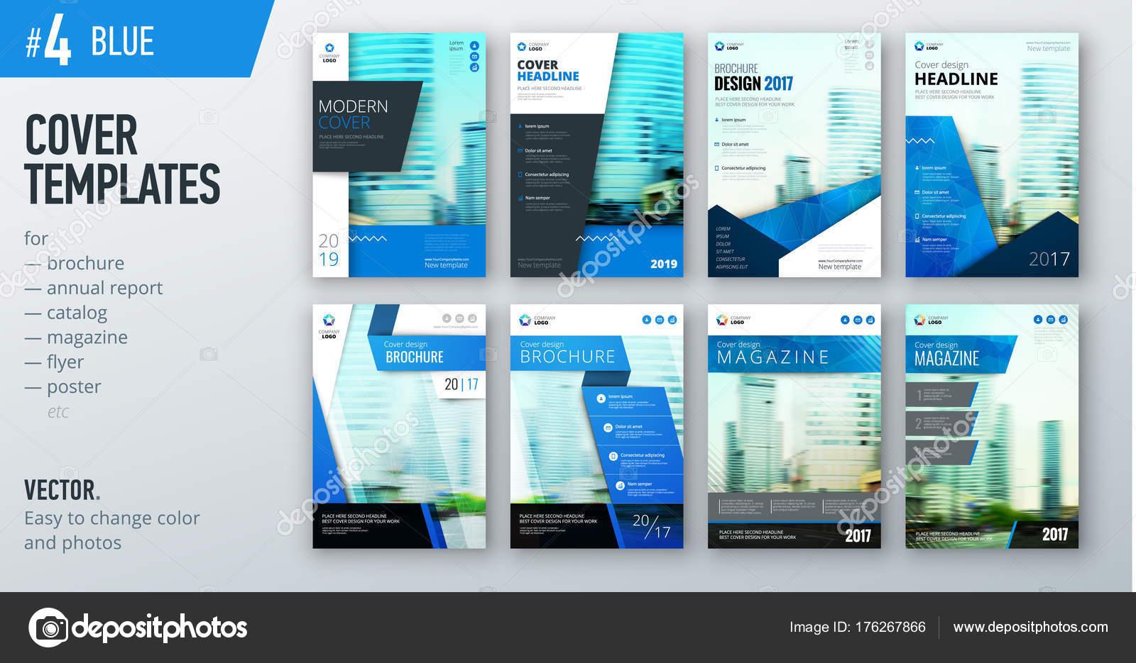 set business cover design templates bright blue color brochures