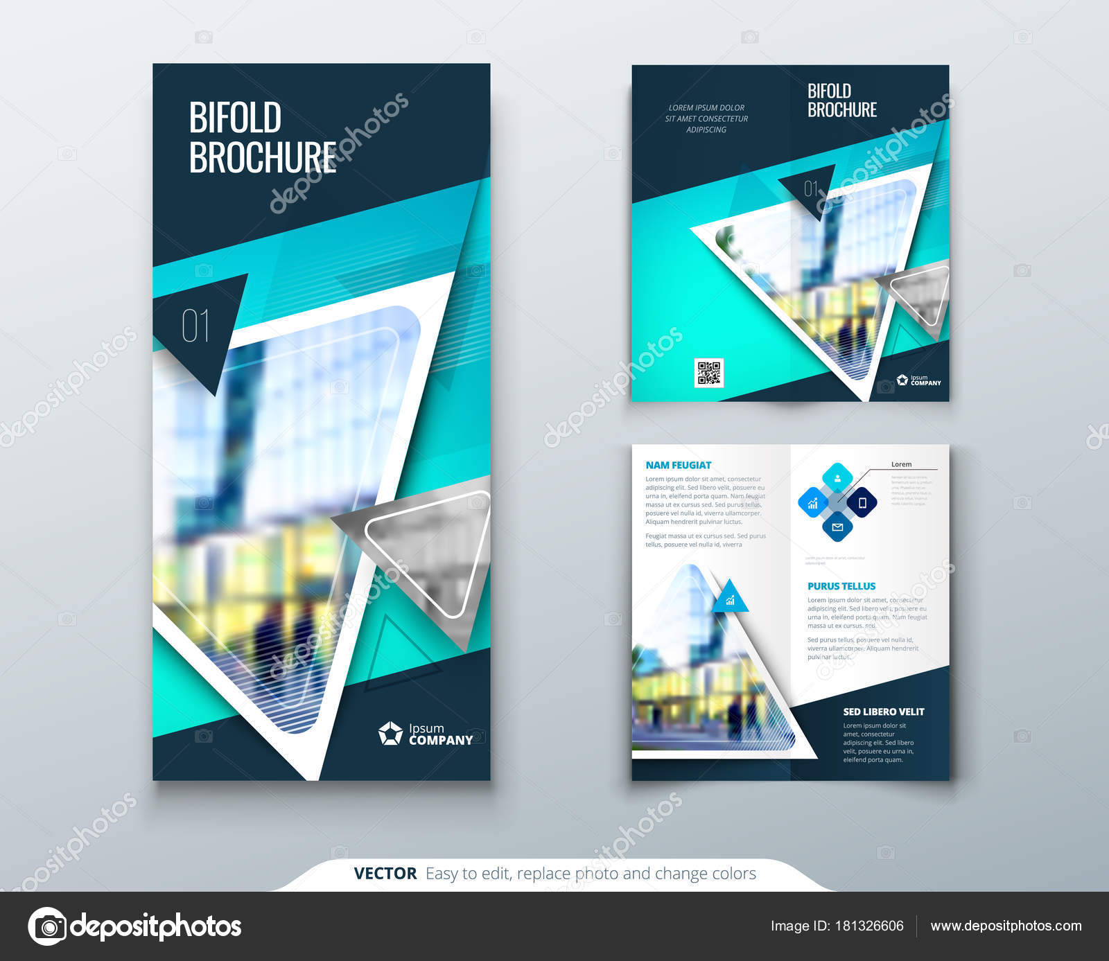 Bifold Brochure Design Teal Template For Bi Fold Flyer Layout With