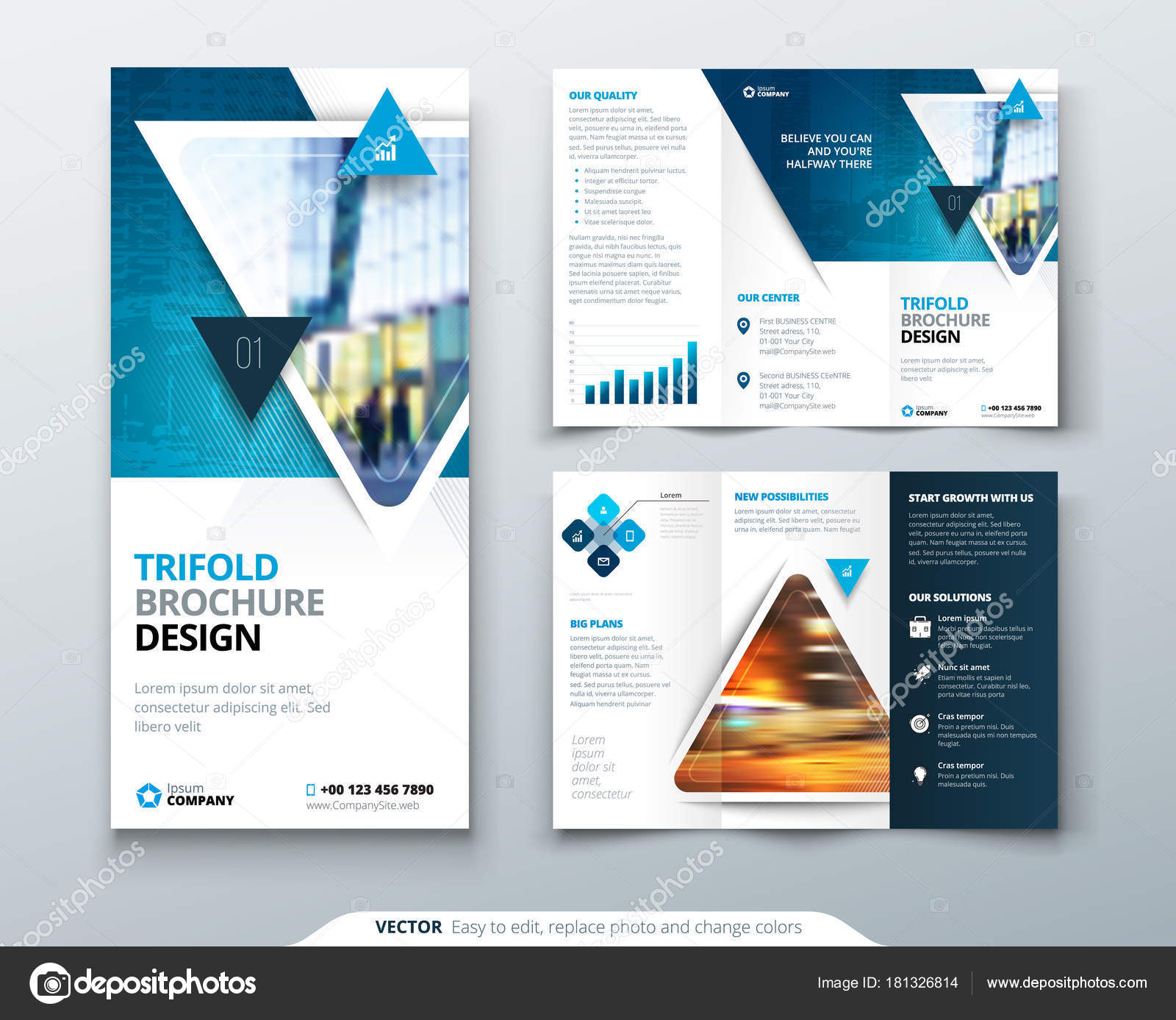 business tri fold brochure design blue green corporate business
