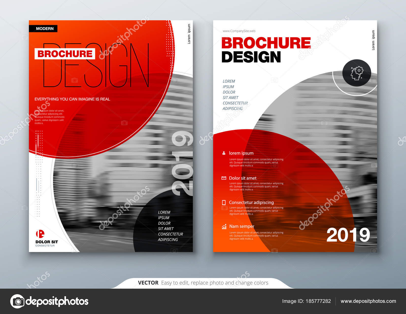 brochure template layout cover design annual report magazine flyer or booklet in a4 with color circle shapes in swiss or magna style