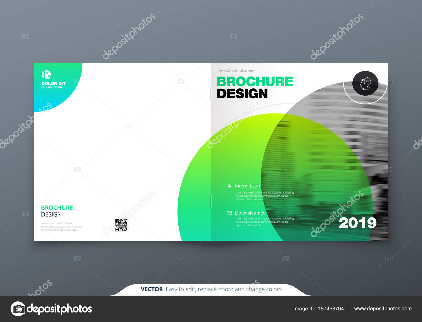 square brochure design green corporate business rectangle template