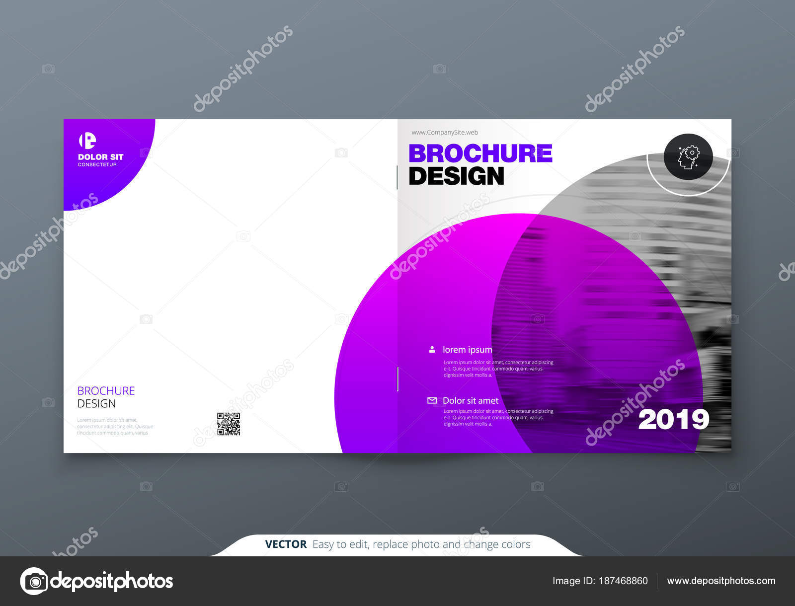 Square Brochure Design Violet Purple Corporate Business Rectangle Template Report Catalog Magazine Layout Modern Circle Abstract