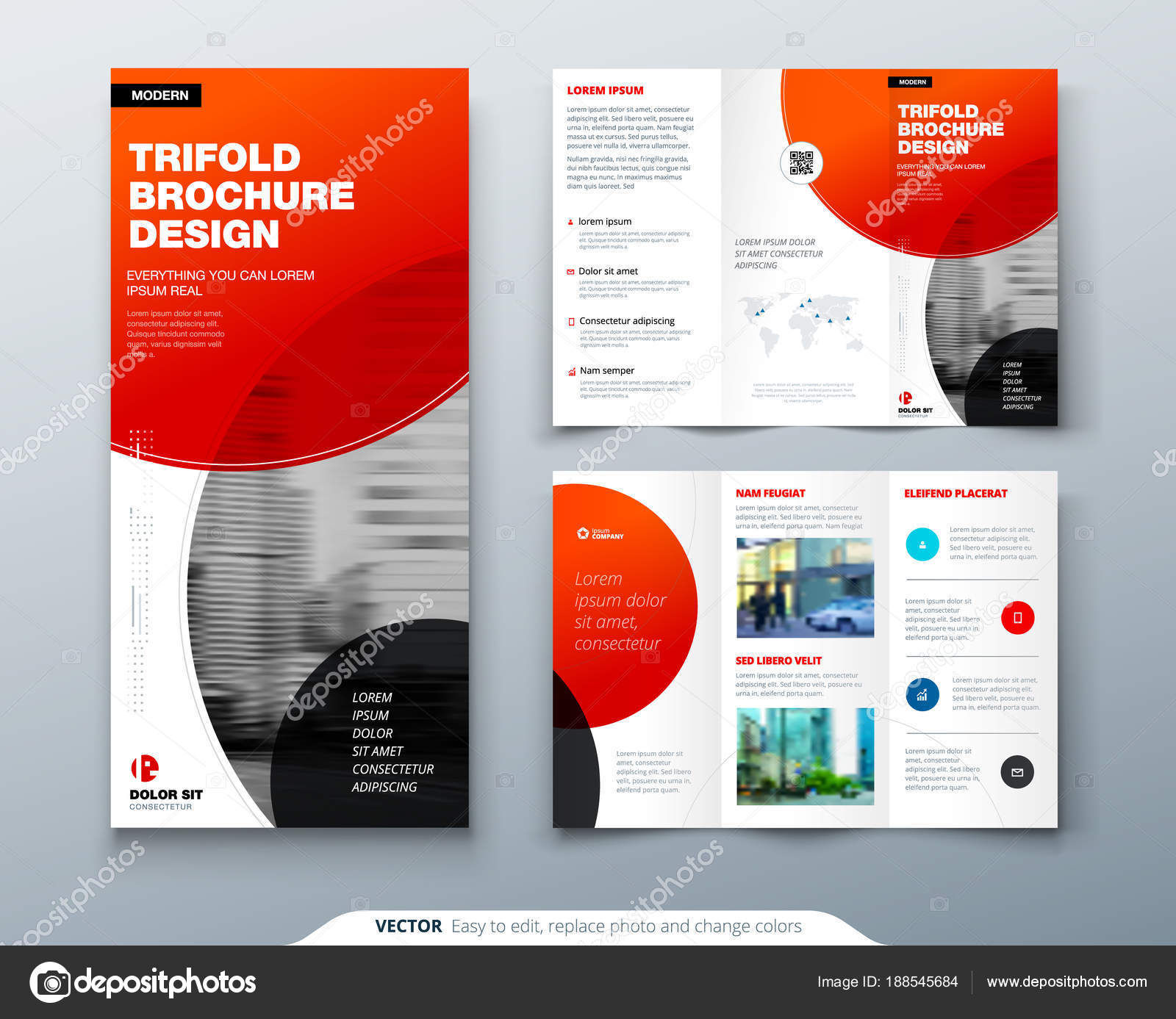 tri fold brochure design red business template for tri fold flyer