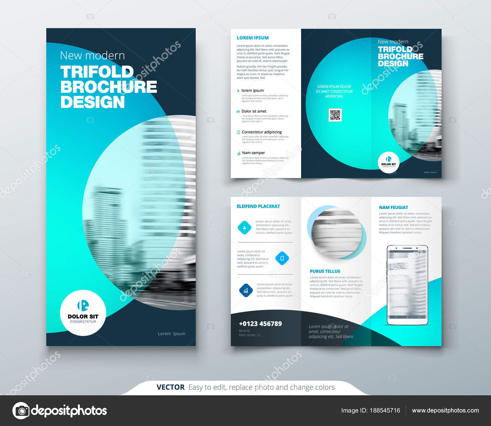 tri fold brochure design teal orange corporate business template