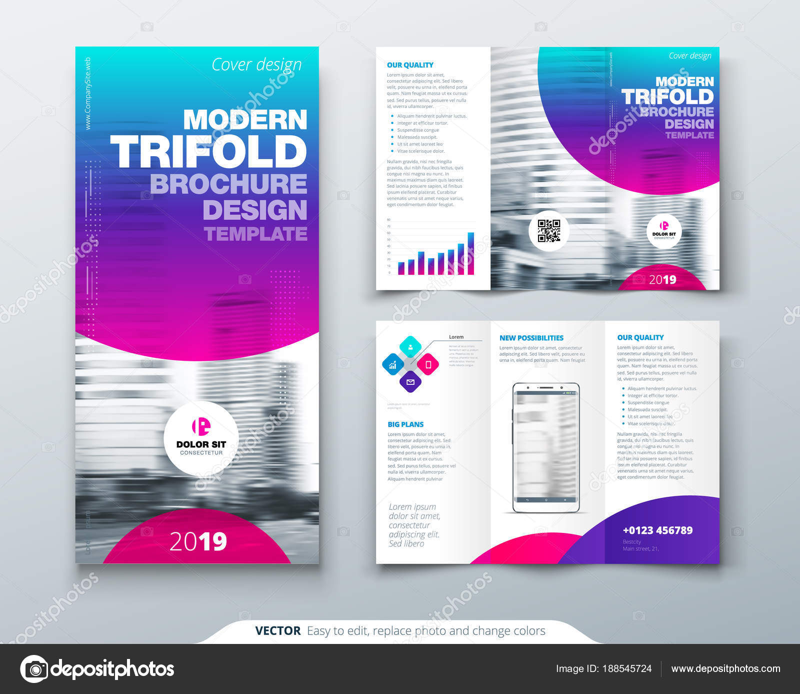 Tri Fold Brochure Design Cool Business Template For Flyer Layout With Modern