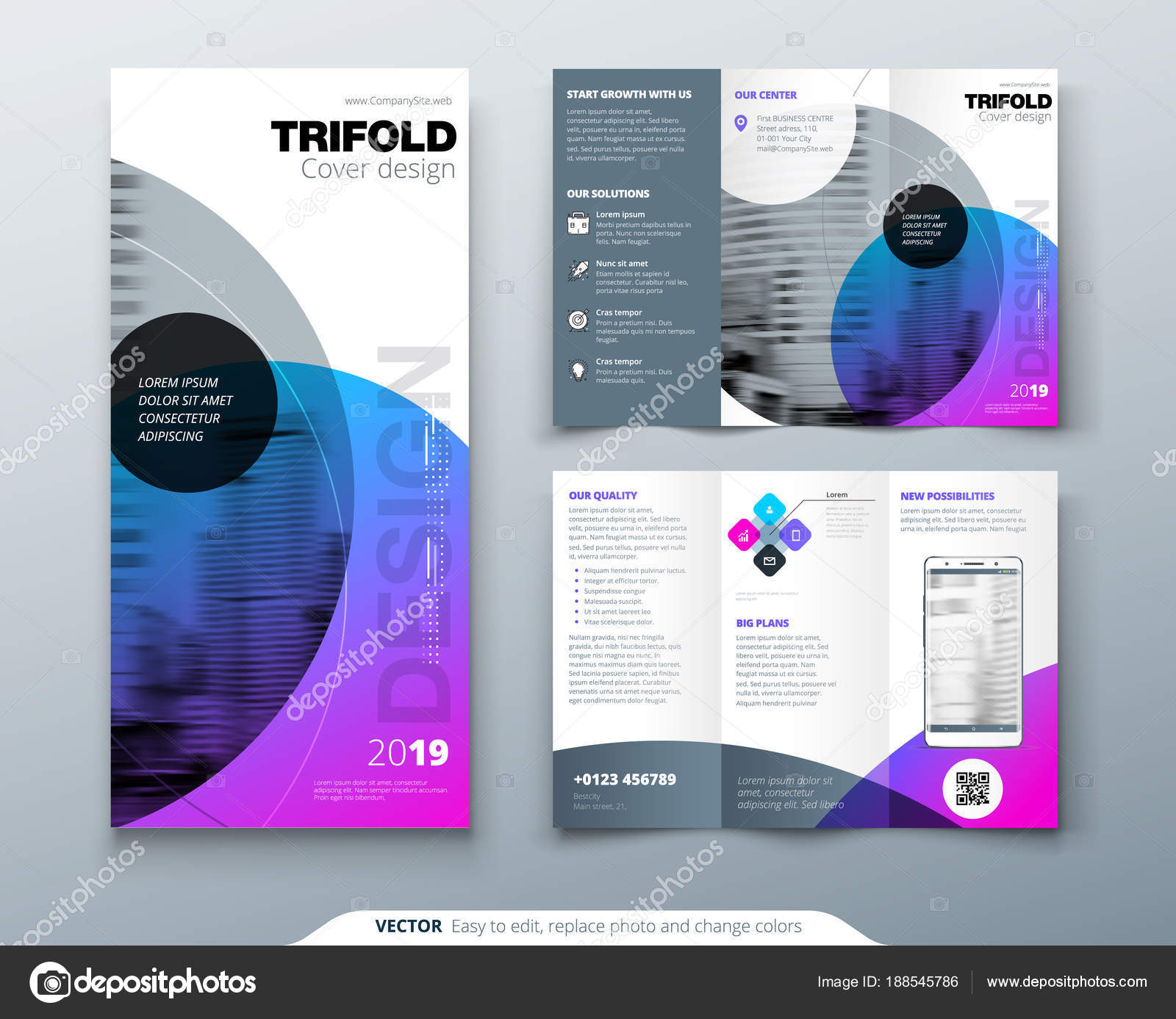 tri fold brochure design purple corporate business template for tri fold flyer layout with. Black Bedroom Furniture Sets. Home Design Ideas