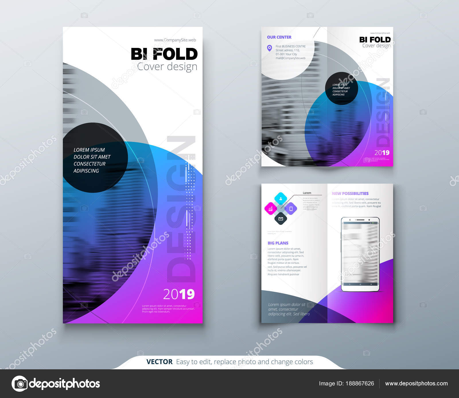 tri fold brochure design purple corporate business template for tri