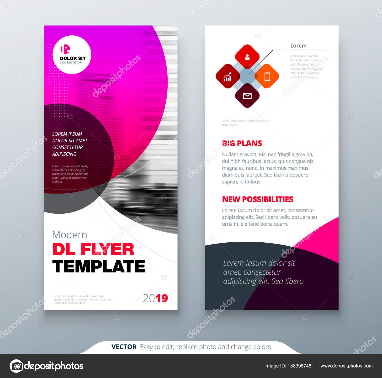 DL Flyer design. Pink business template for dl flyer. Layout with ...