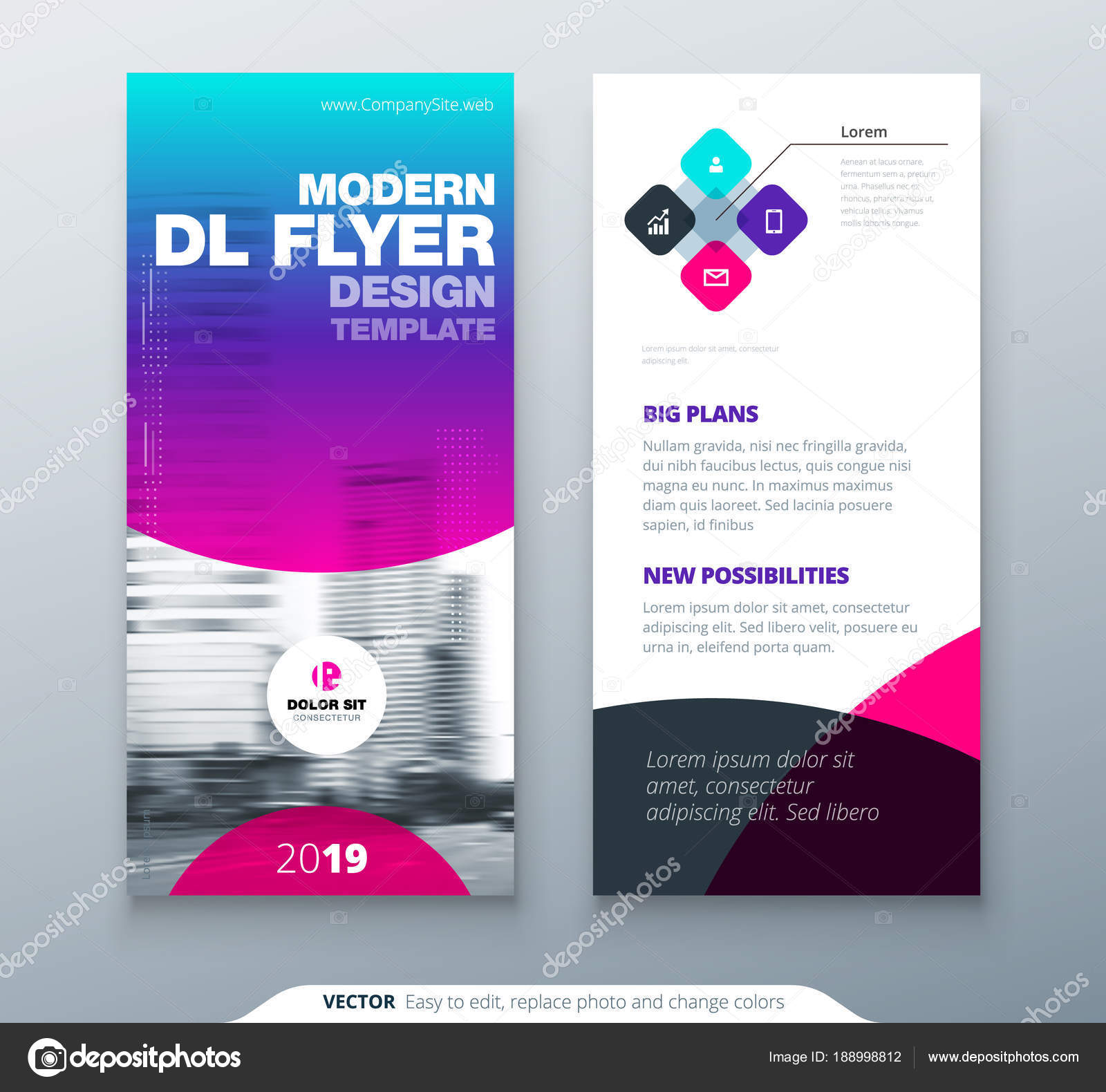 DL Flyer design. Purple business template for dl flyer. Layout with ...