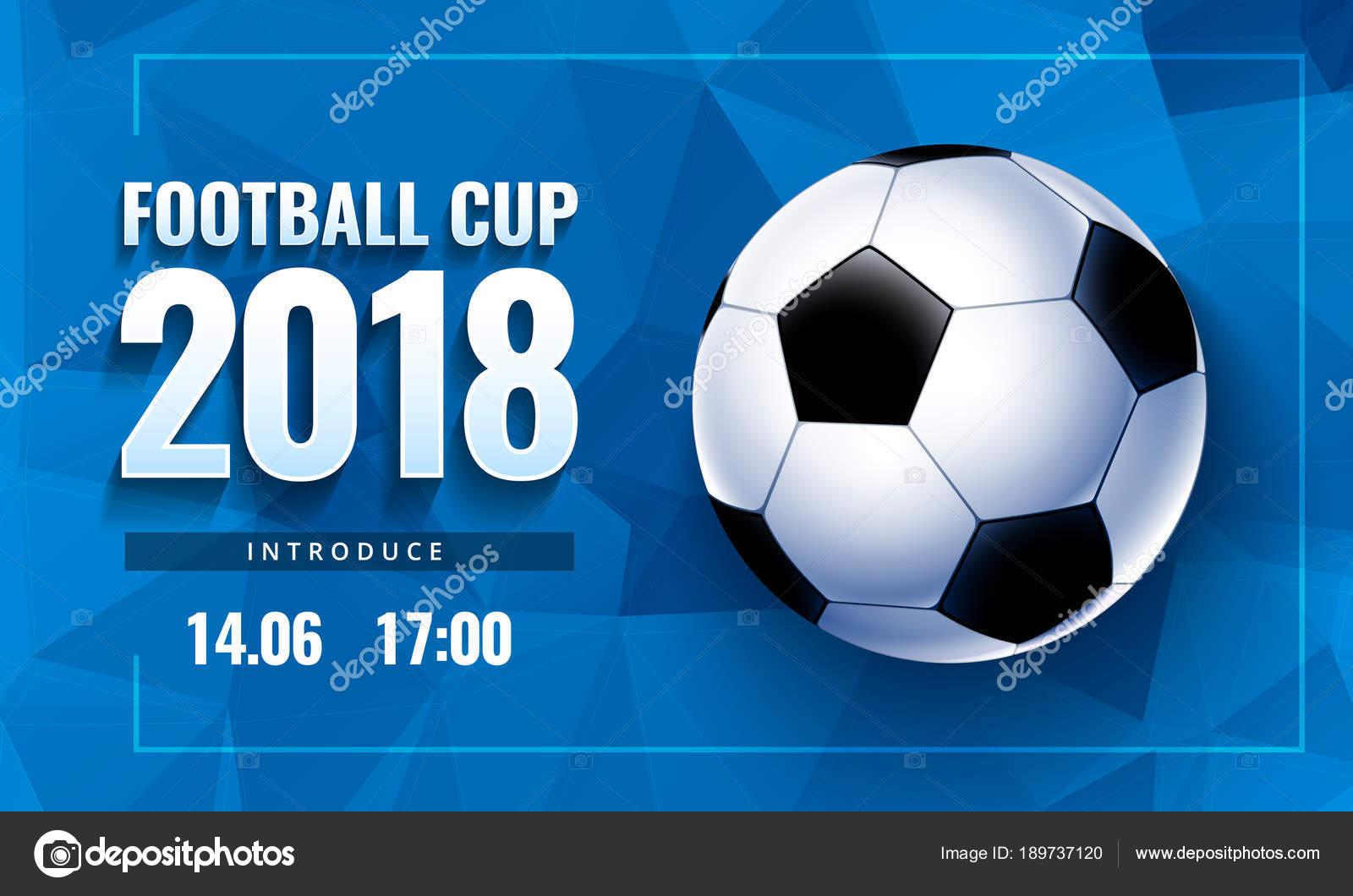 Fussball 2018 Mit Ball Und Blau Horizontal Hintergrund