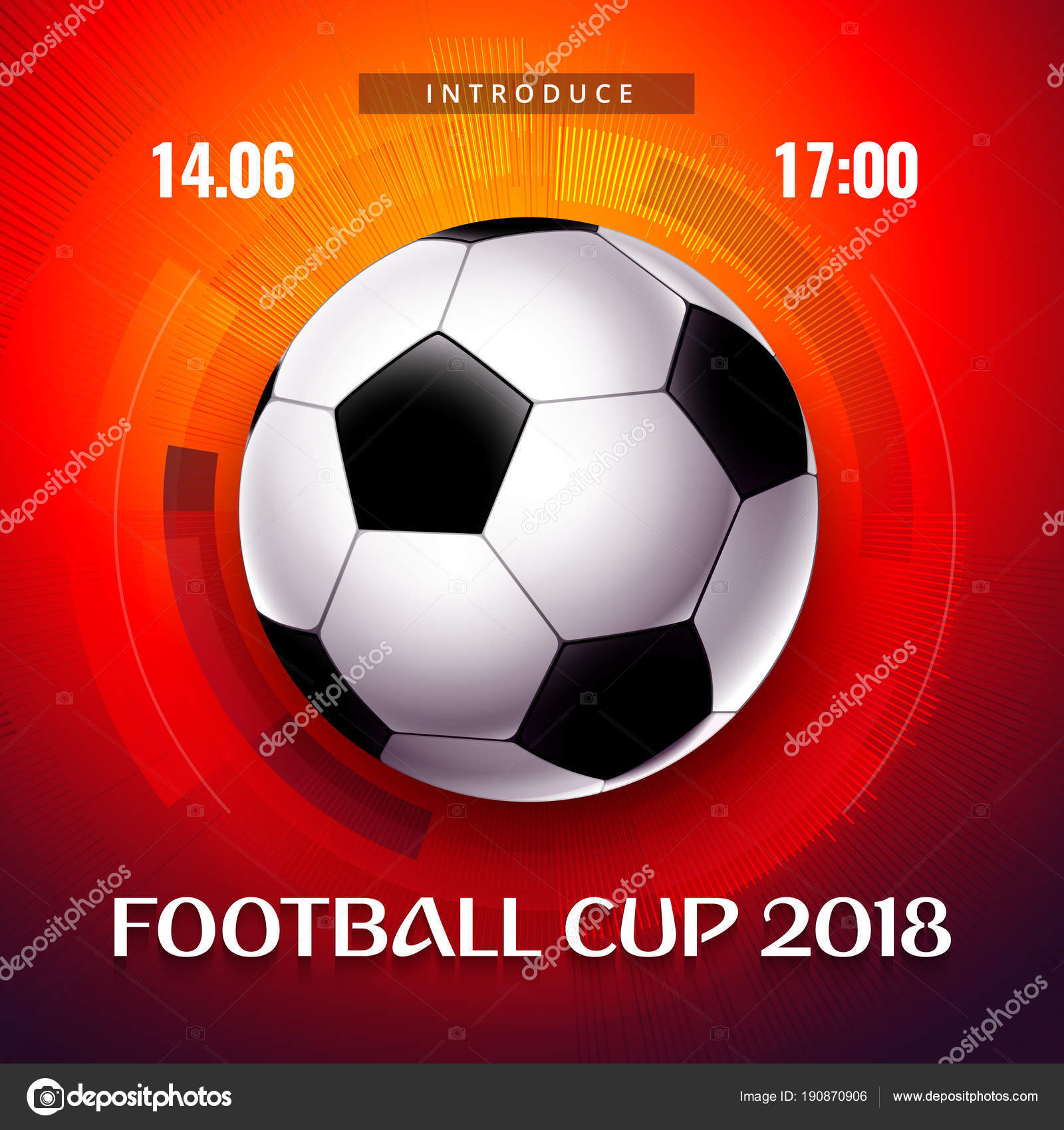 Tapete Mit Ball Fussball 2018 Schriftzug Und Rotem