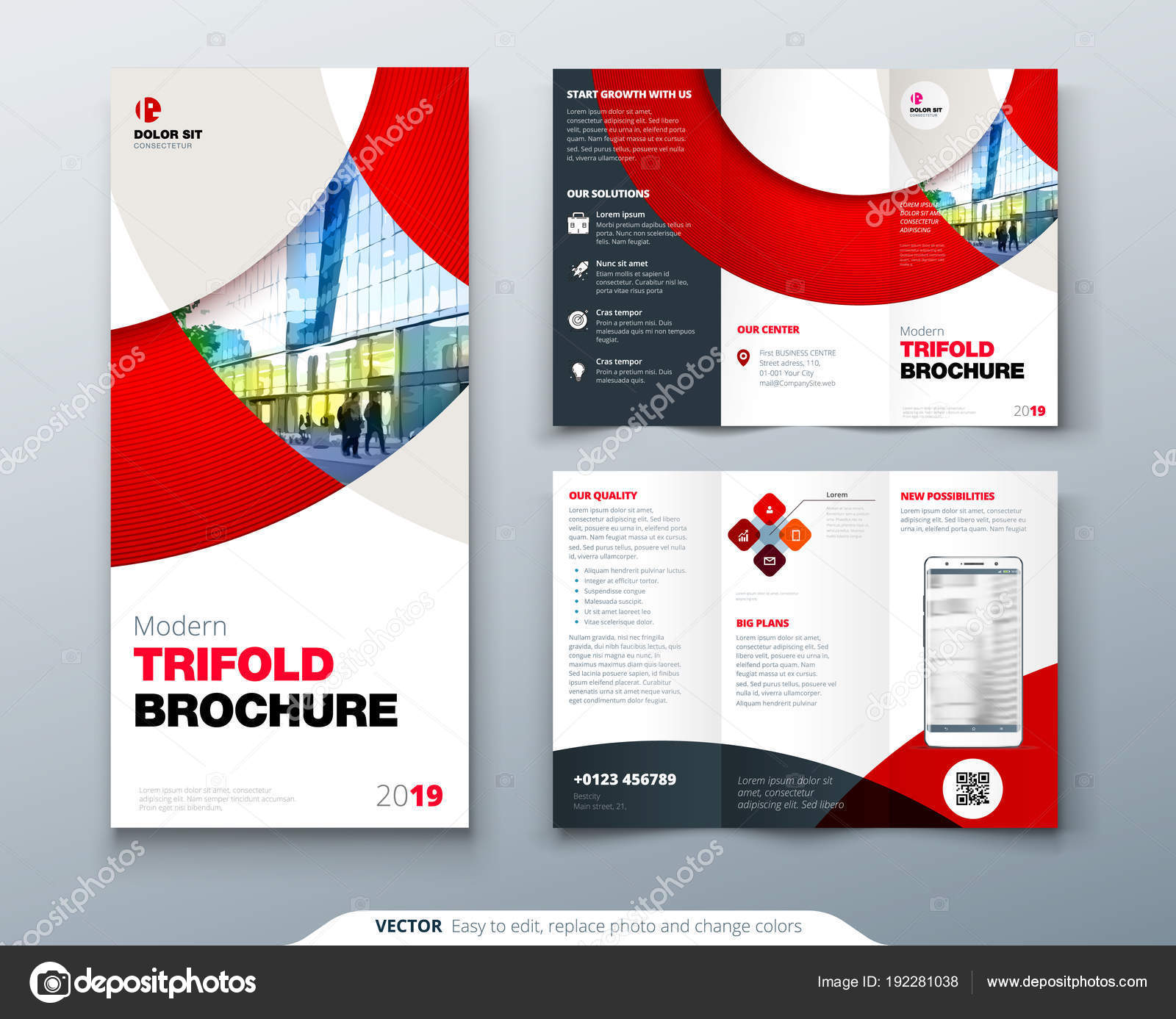 tri fold brochure design with circle corporate business template