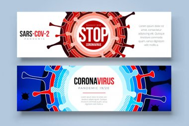 Coronavirus COVID-19 SARS-CoV-2 Social media Banner on a color background. Virus infections prevention. Deadly type of virus 2019-nCoV. Coronavirus microbe vector illustration