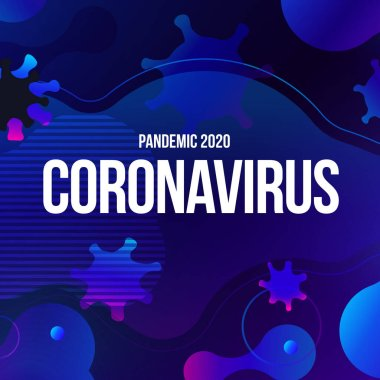 Coronavirus COVID-19 SARS-CoV-2 Social media Banner on a Blue background. Virus infections prevention. Deadly type of virus 2019-nCoV. Coronavirus microbe vector illustration