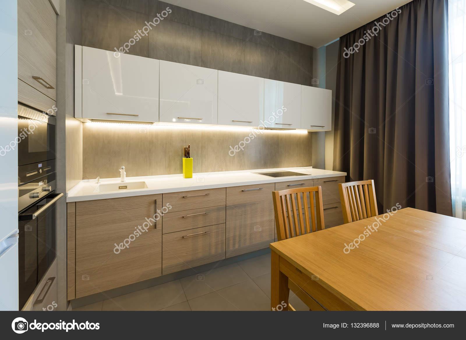 Modern Kitchen Interior In New Luxury Home Apartment Stock Photo
