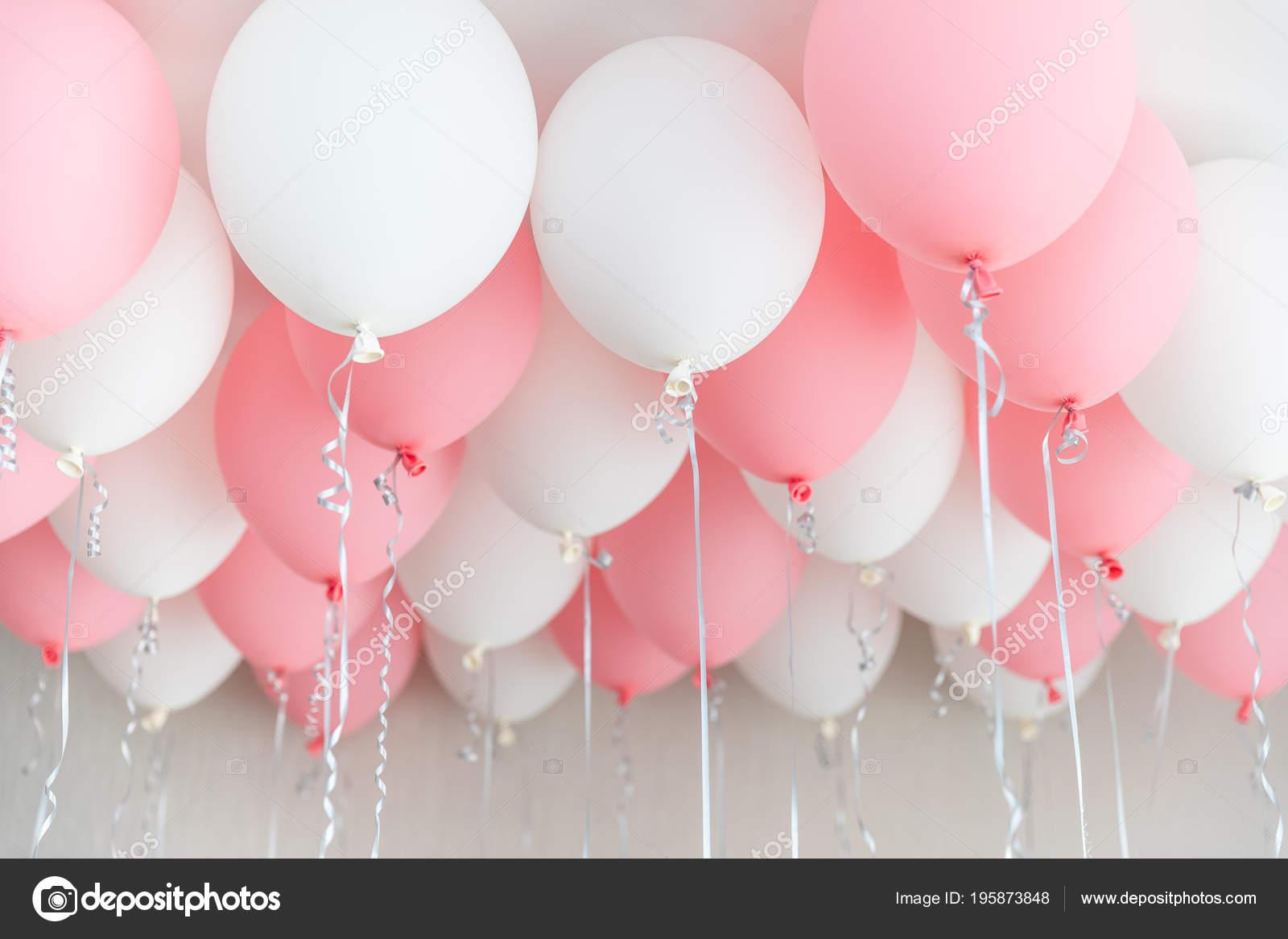 Ongebruikt Colourful balloons, pink, white, streamers. Helium Ballon floating KJ-28
