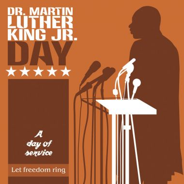 Dr. Martin Luther King, Jr. silhouette on a brown background