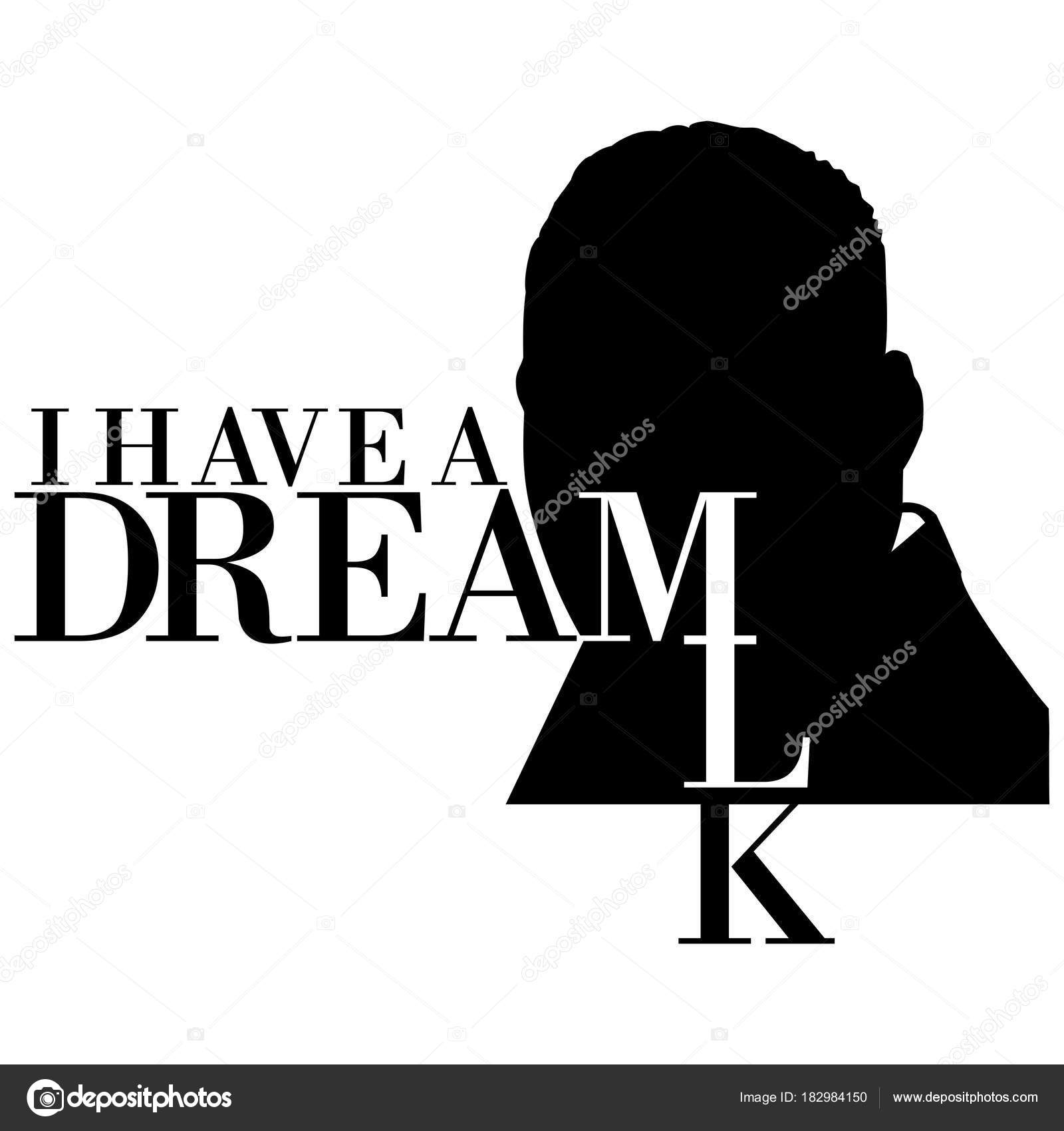 Illustration Silhouette Martin Luther King White Background Text