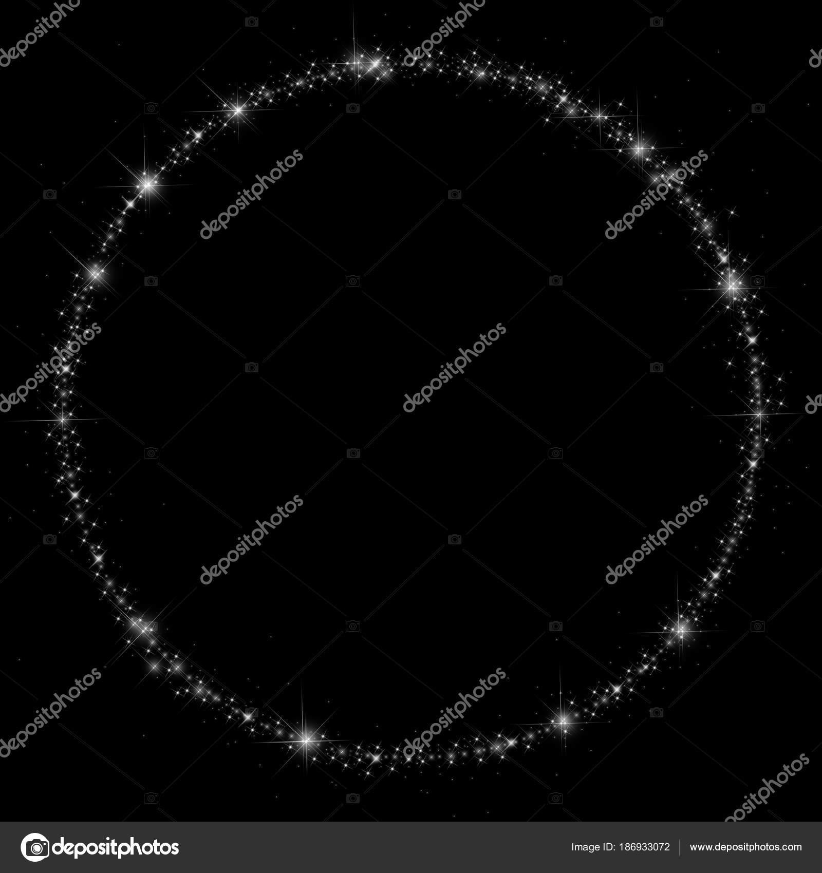 Cercle Abstrait Des étoiles Scintillantes Blanches Sur Fond