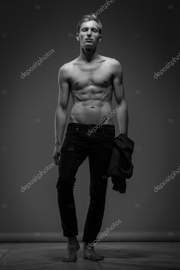 Handsome Man In Black Jeans
