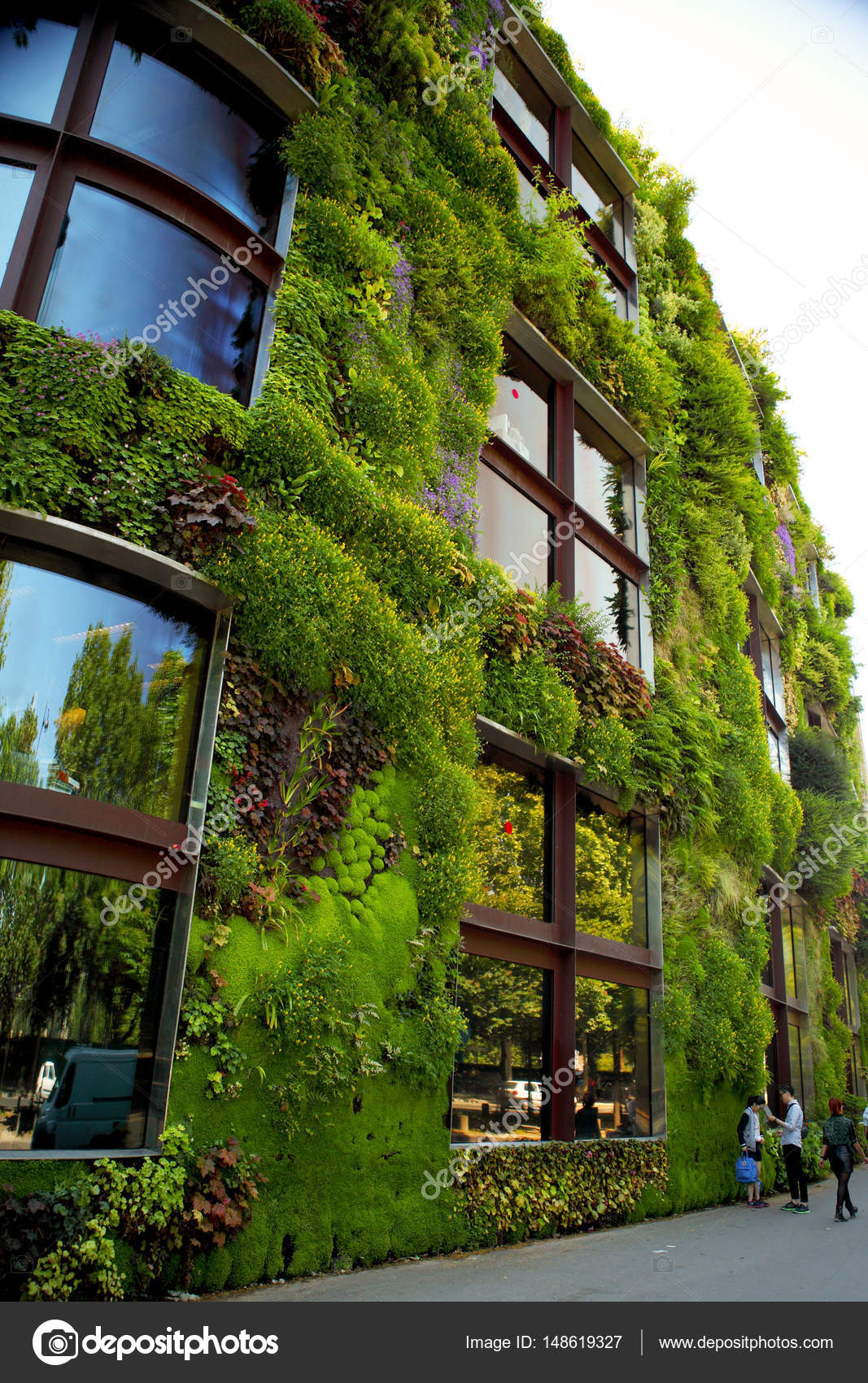 Wunderbar Haus Wand Bewachsen Mit Schönen Grünen Natur Design. Paris, Frankreich U2014  Foto Von Fenixlive
