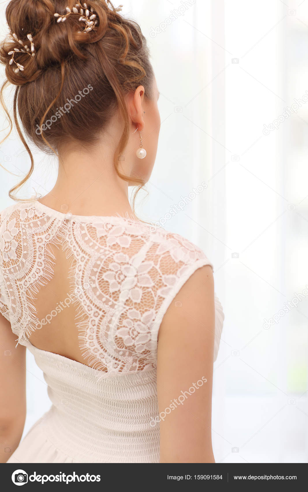 Elegant Bride Back With Collected Up Do Hair Light Bridal Morning