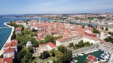 Aerial drone view of coast in Zadar.